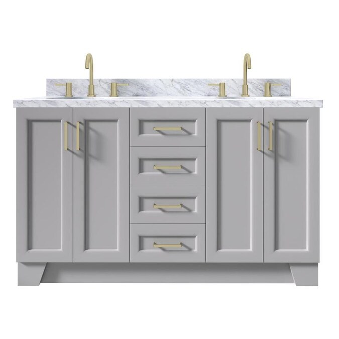 Ariel Taylor 61 In Grey Undermount Double Sink Bathroom Vanity With Carrara White Marble Top In The Bathroom Vanities With Tops Department At Lowes Com