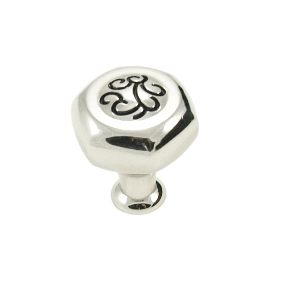 RK International Palermo Polished Nickel with Black Round Cabinet Knob