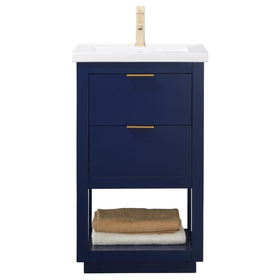 Design Element Klein 20 In Blue Single Sink Bathroom Vanity With White Porcelain Top In The Bathroom Vanities With Tops Department At Lowes Com