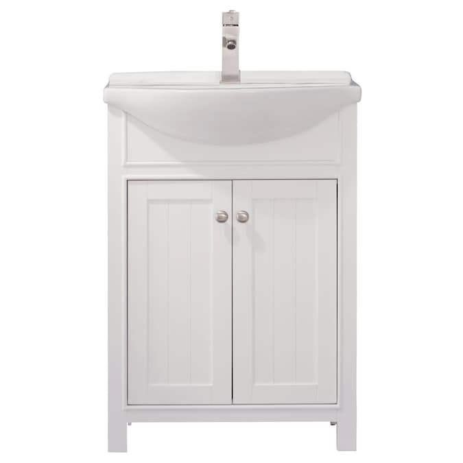 Design Element Marian 24 In White Single Sink Bathroom Vanity With White Porcelain Top In The Bathroom Vanities With Tops Department At Lowes Com