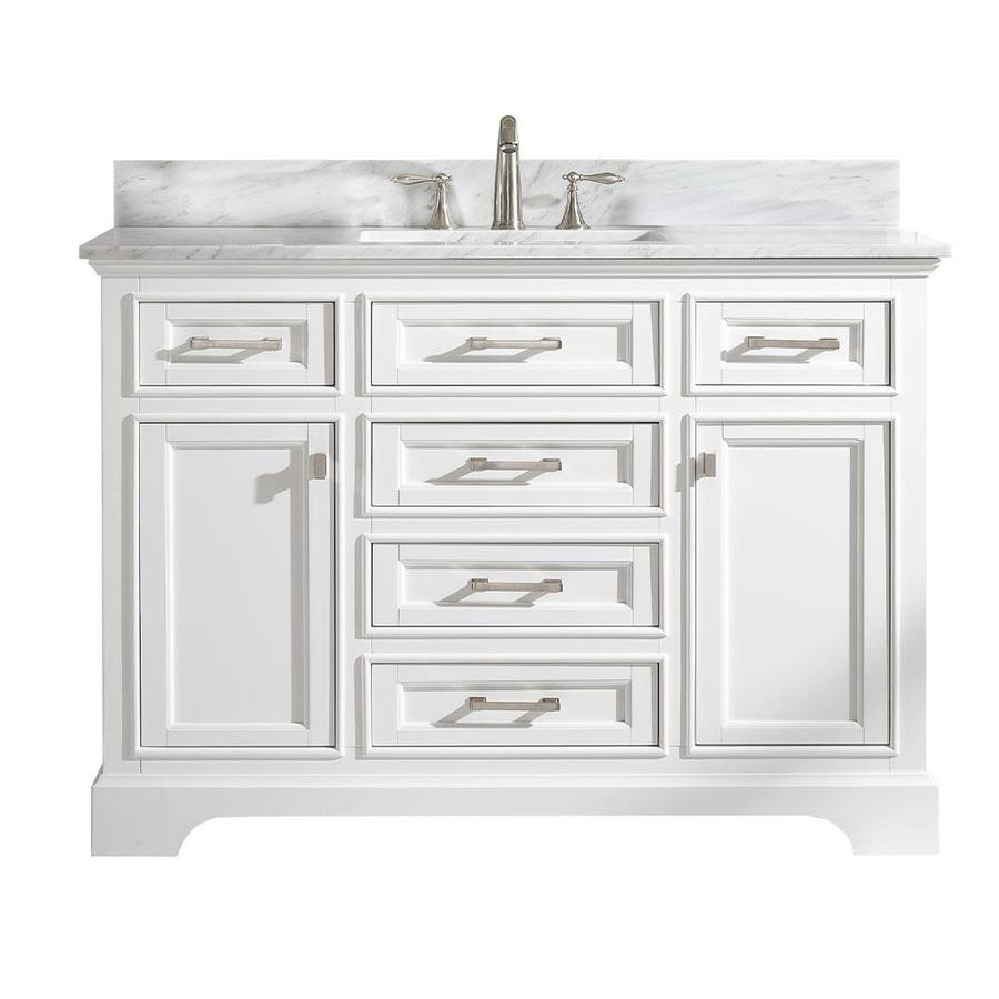 Design Element Milano 48 In White Undermount Single Sink Bathroom Vanity With White Natural Marble Top In The Bathroom Vanities With Tops Department At Lowes Com