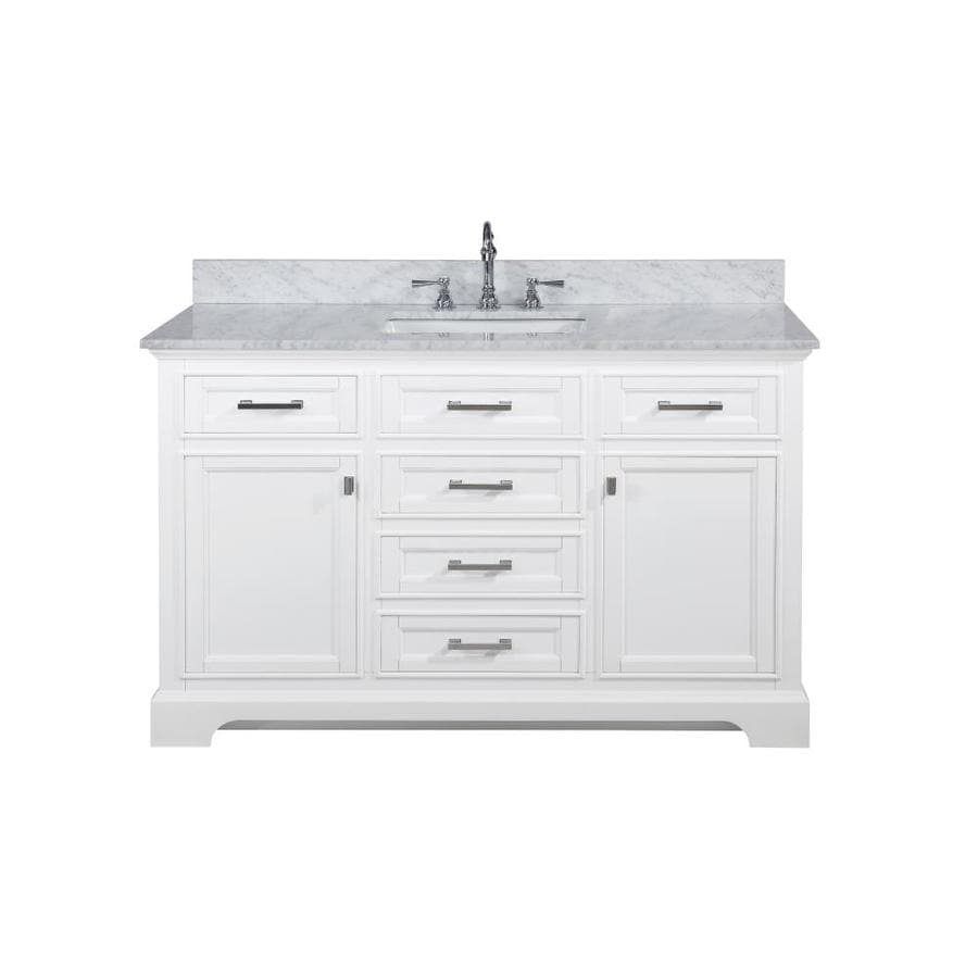 Design Element Milano 54 In White Undermount Single Sink Bathroom Vanity With White Natural Marble Top In The Bathroom Vanities With Tops Department At Lowes Com
