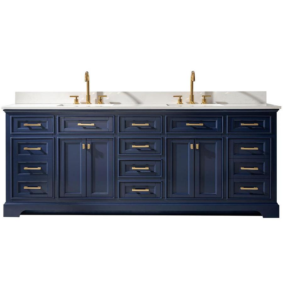 Design Element Milano 84 In Blue Undermount Double Sink Bathroom Vanity With White Quartz Top In The Bathroom Vanities With Tops Department At Lowes Com