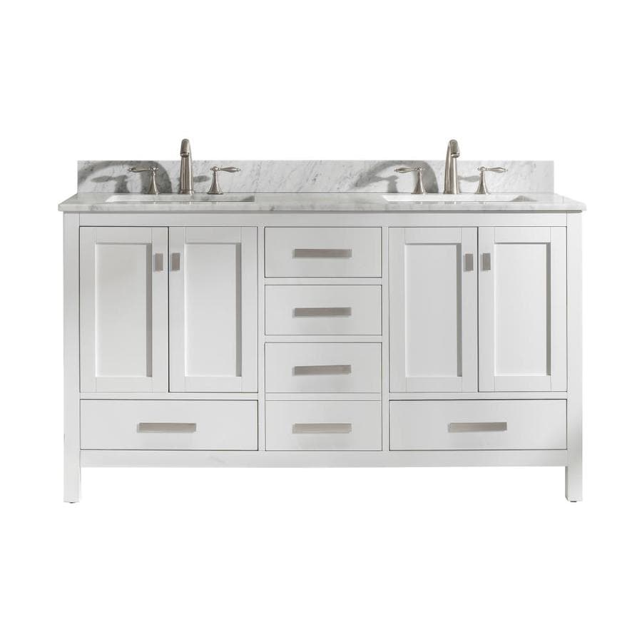 Design Element Valentino 60 In White Undermount Double Sink Bathroom Vanity With White Natural Marble Top In The Bathroom Vanities With Tops Department At Lowes Com