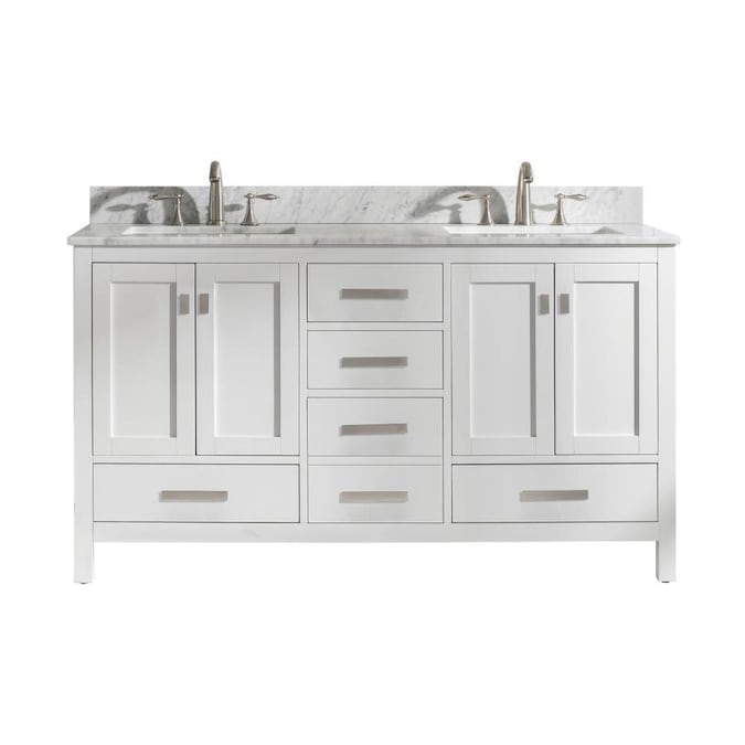 Design Element Valentino 60 In White Double Sink Bathroom Vanity With White Natural Marble Top In The Bathroom Vanities With Tops Department At Lowes Com