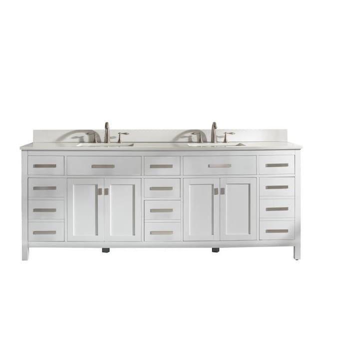 Design Element Valentino 84 In White Undermount Double Sink Bathroom Vanity With White Quartz Top In The Bathroom Vanities With Tops Department At Lowes Com