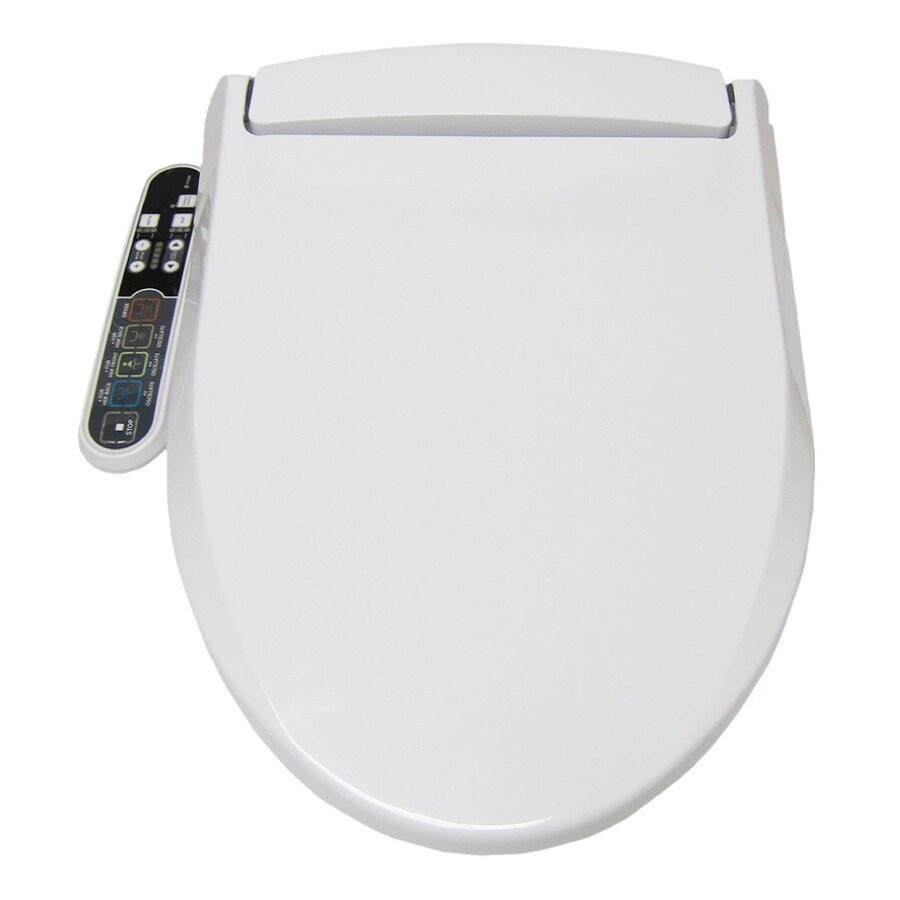 Smartbidet White Elongated Slow Close Heated Bidet Toilet Seat In The Toilet Seats Department At Lowes Com