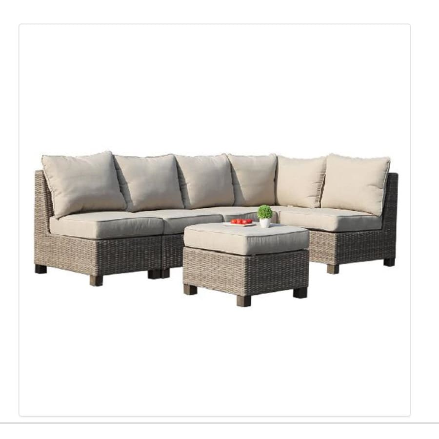 Allen + Roth Sea Palms 6 Piece Warm Gray Wicker Sectional Patio  Conversation Set With