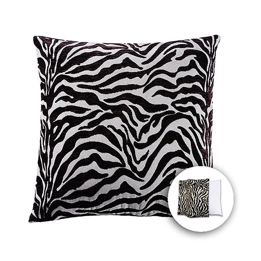 allen + roth 18-in W x 18-in L Zebra Blue Square Indoor Decorative Pillow Cover