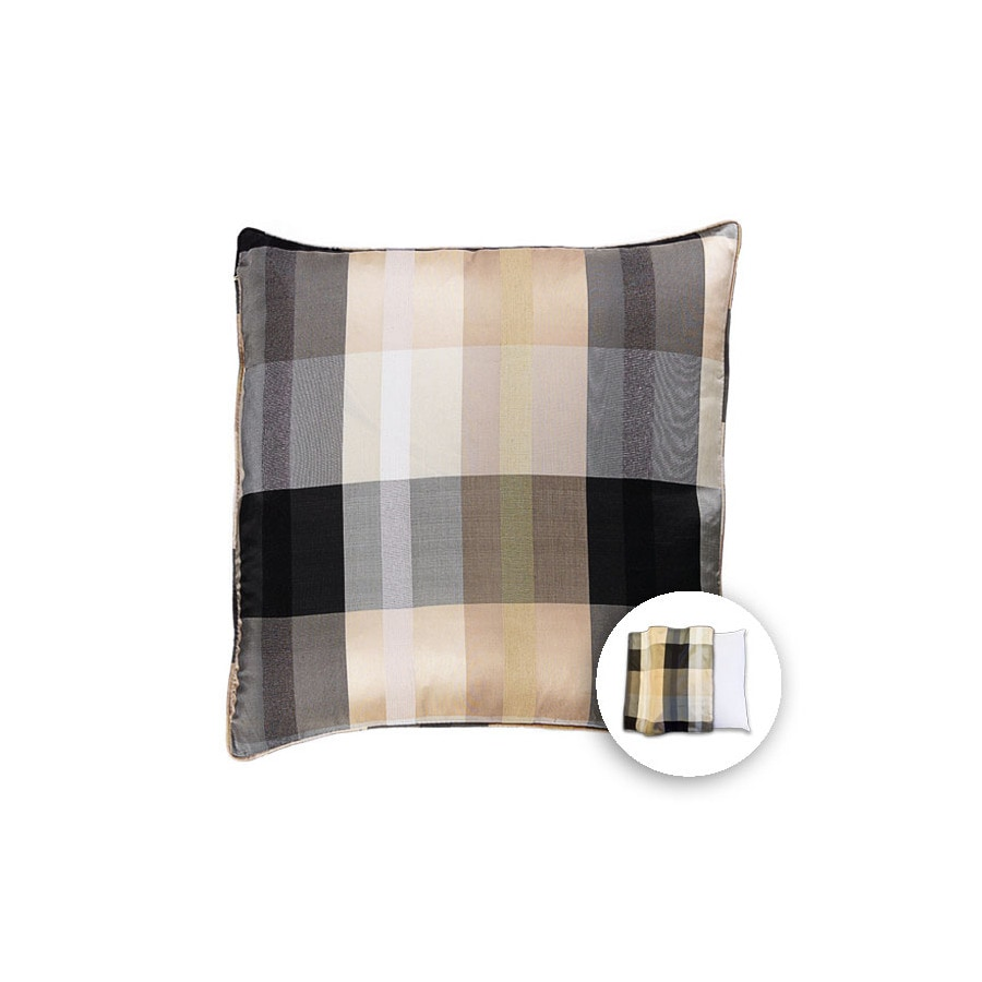 allen + roth 18-in W x 18-in L Ivory Black Square Indoor Decorative Pillow Cover