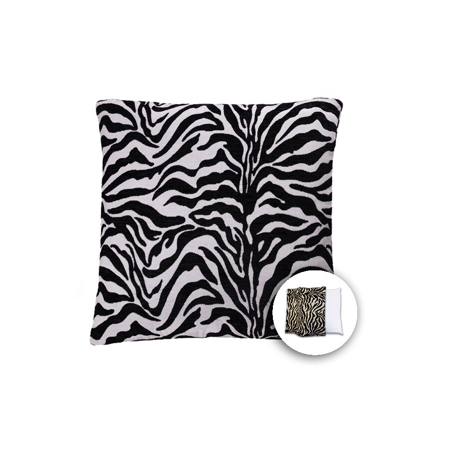 allen + roth 18-in W x 18-in L Zebra White Square Indoor Decorative Pillow Cover