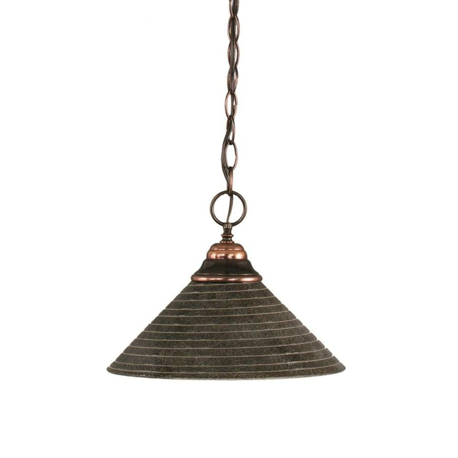Divina 12-in Black Copper Mini Marbleized Glass Pendant