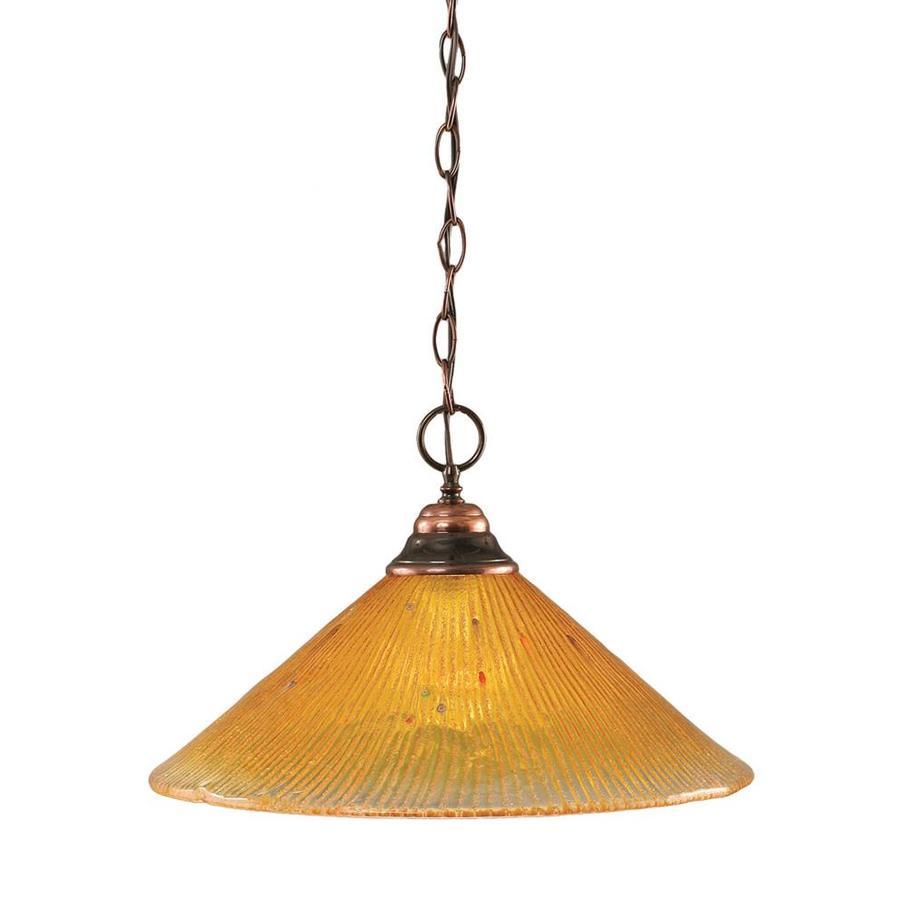 Divina 16-in Black Copper Single Marbleized Glass Pendant