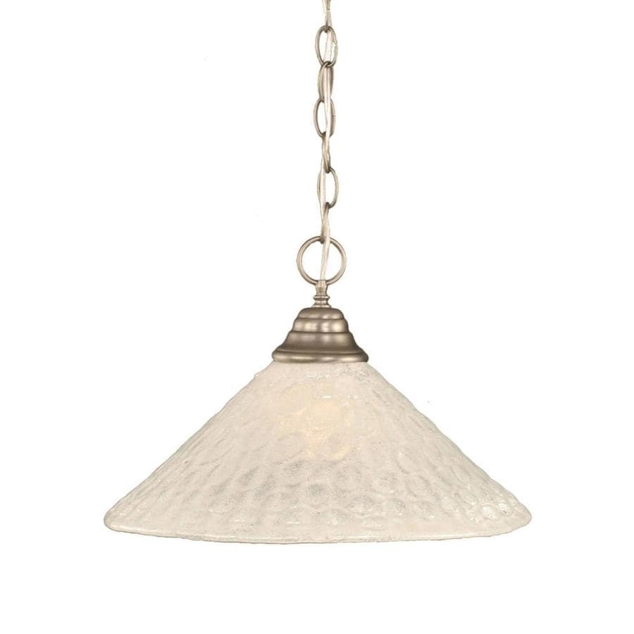 Divina 16-in Brushed Nickel Single Marbleized Glass Pendant