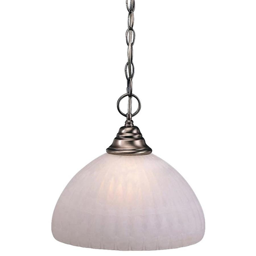 Divina 12-in Brushed Nickel Single Stained Glass Pendant