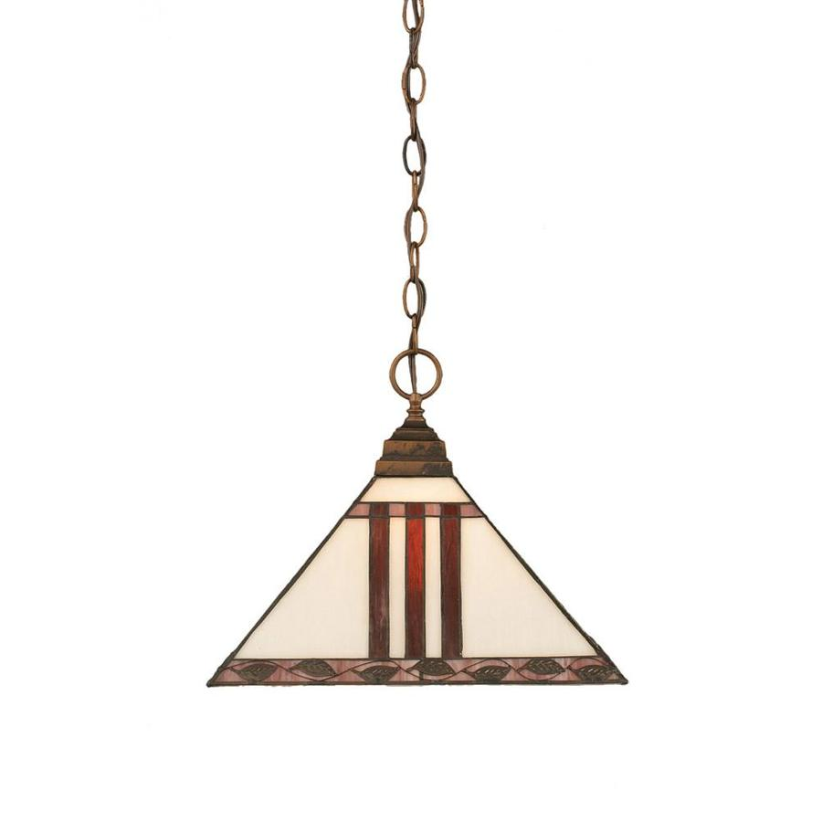 Divina 14-in Bronze Single Stained Glass Pendant