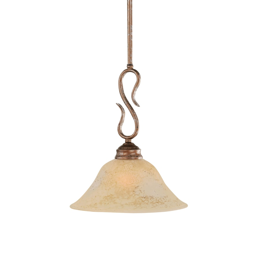 Brooster 10-in Bronze Mini Marbleized Glass Pendant