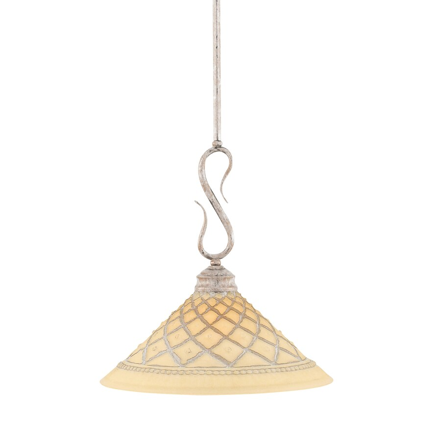 Brooster 12-in Bronze Single Textured Glass Pendant