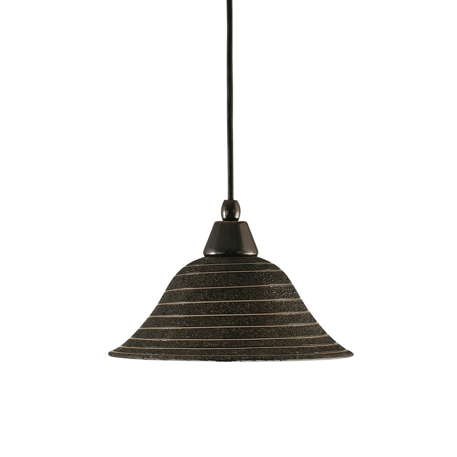 Brooster 10-in Black copper Hardwired Mini Textured Glass Bell Standard Pendant