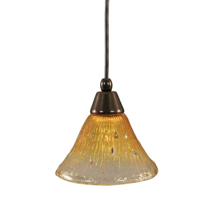 Divina 7-in Black Copper Mini Marbleized Glass Pendant