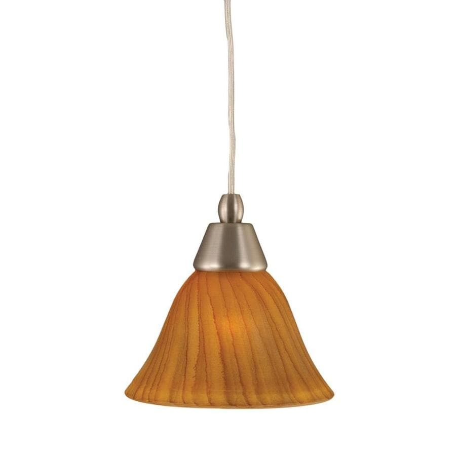 Divina 7-in Brushed Nickel Mini Marbleized Glass Pendant