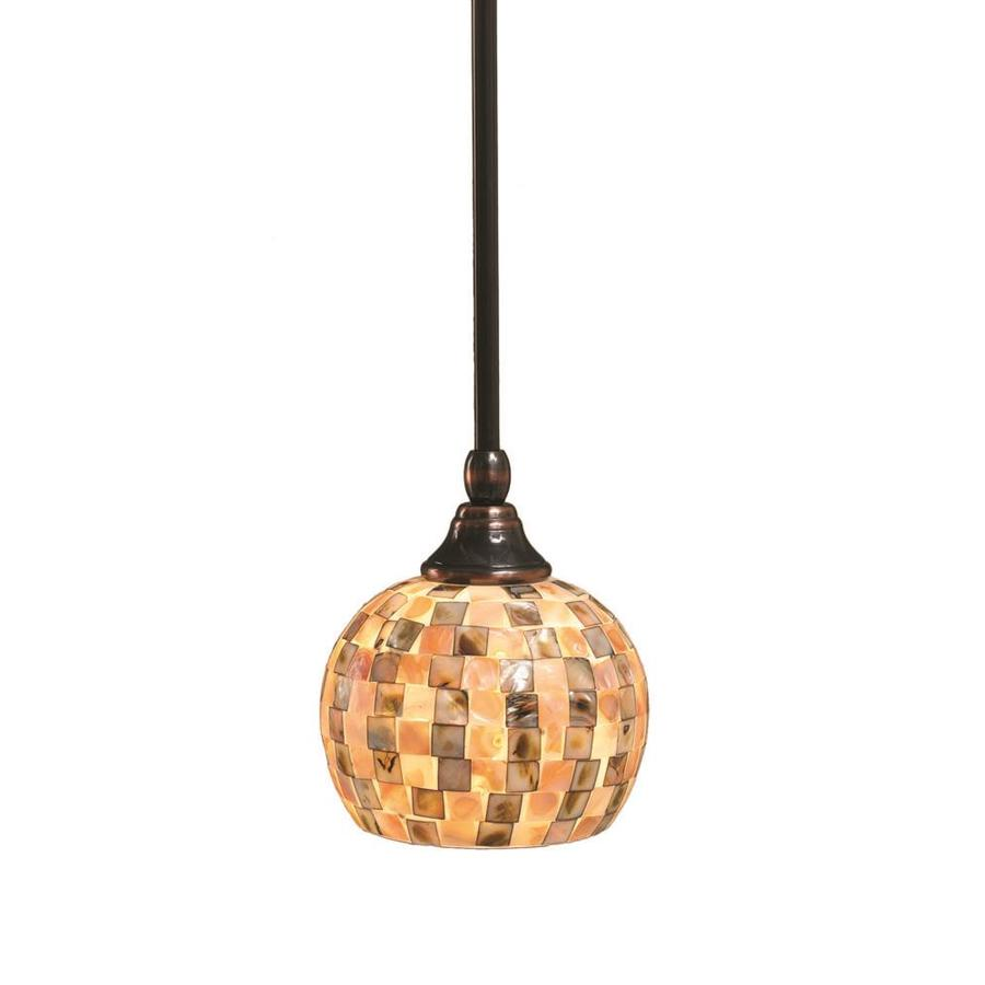 Divina 6-in Black Copper Mini Marbleized Glass Pendant