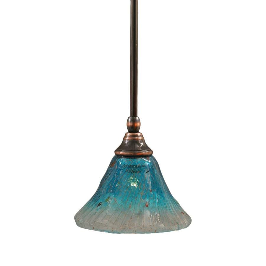 Divina 7-in Black Copper Mini Marbleized Glass Pendant