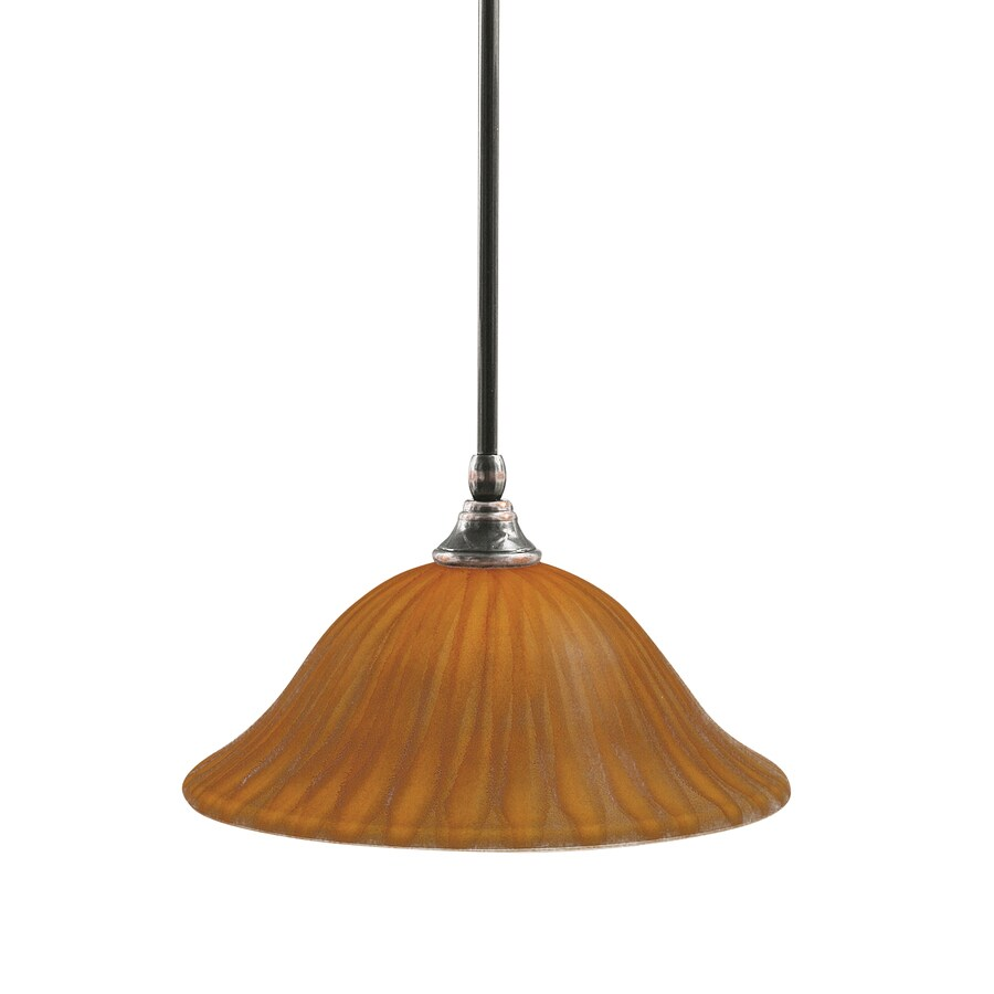 Brooster 12-in Black Copper Single Tinted Glass Pendant