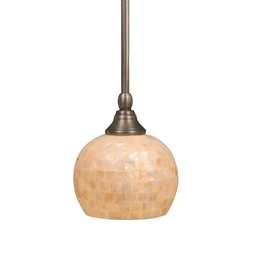 Divina 6-in Brushed Nickel Mini Marbleized Glass Pendant
