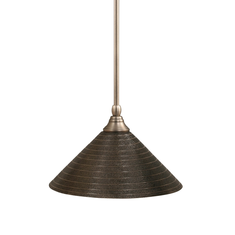 Brooster 12-in Brushed Nickel Single Textured Glass Pendant