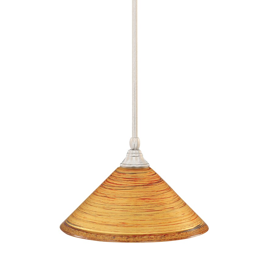 Brooster 12-in Brushed Nickel Single Tinted Glass Pendant