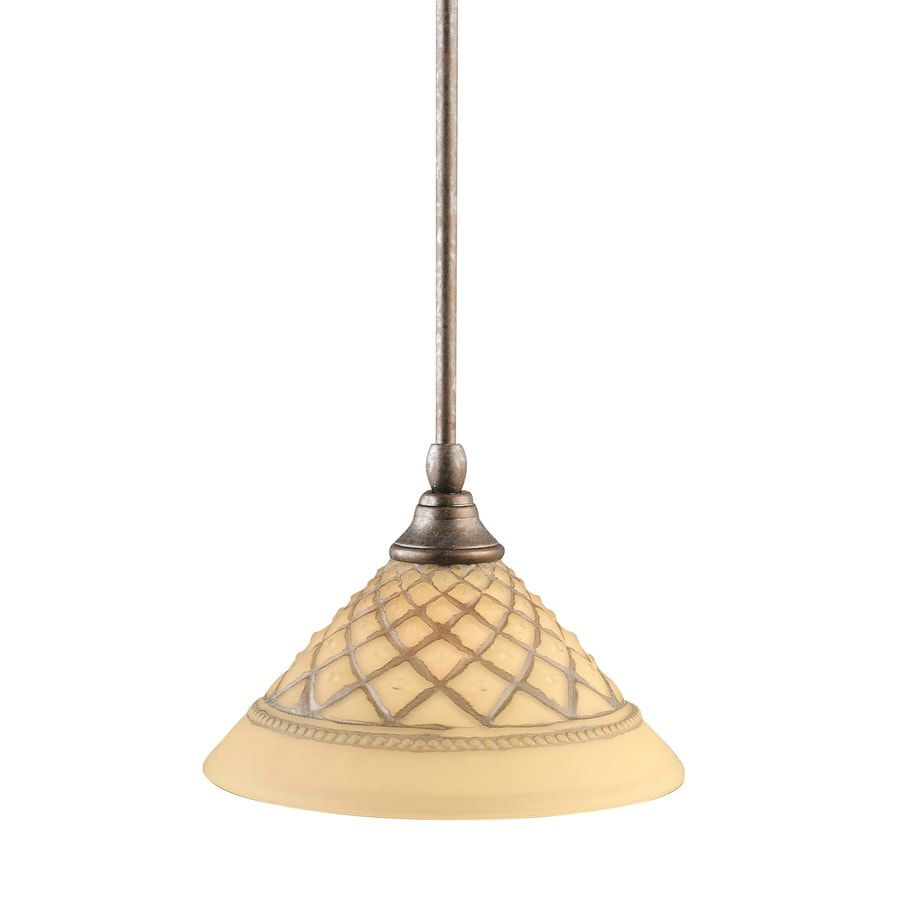 Brooster 10-in Bronze Mini Textured Glass Pendant