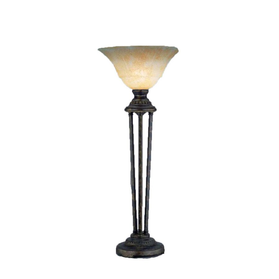 Divina 32-in 3-Way Bronze Indoor Table Lamp with Glass Shade