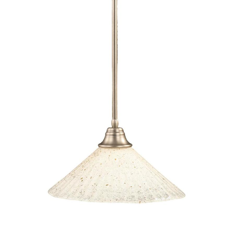 Divina 16-in Brushed Nickel Mini Marbleized Glass Pendant