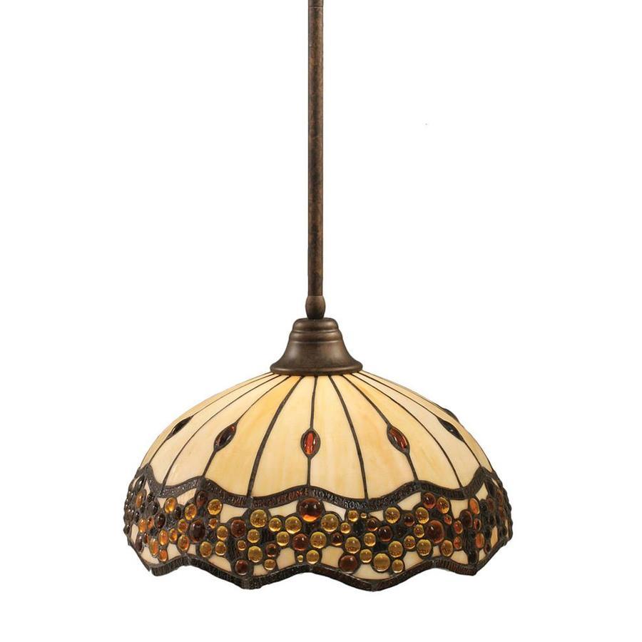 Divina 18.25-in Bronze Mini Stained Glass Pendant
