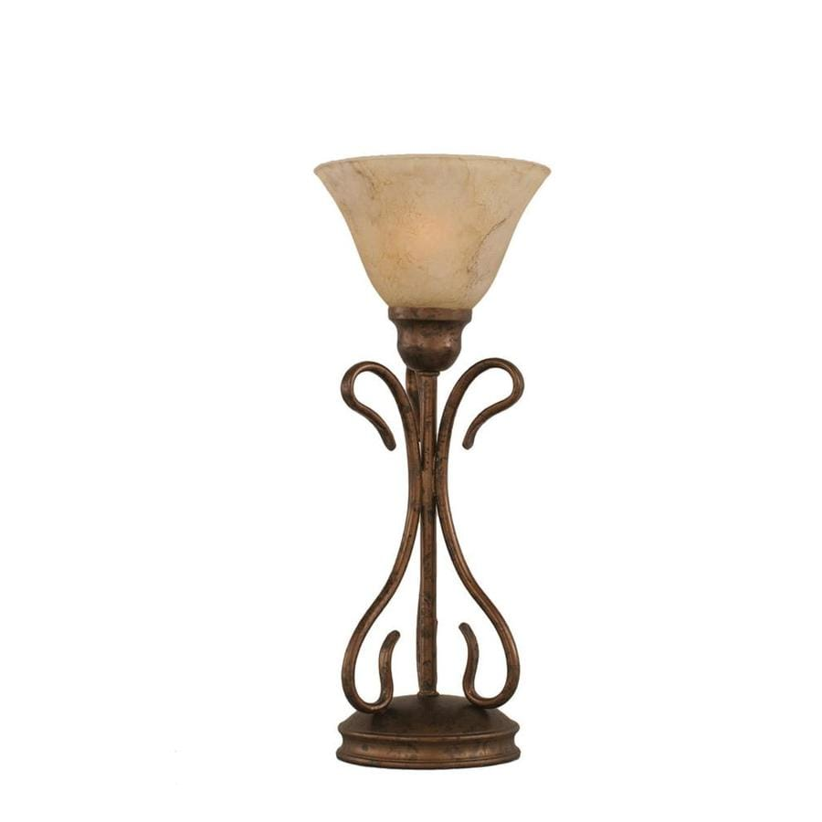 Divina 16.75-in 3-Way Bronze Indoor Table Lamp with Glass Shade