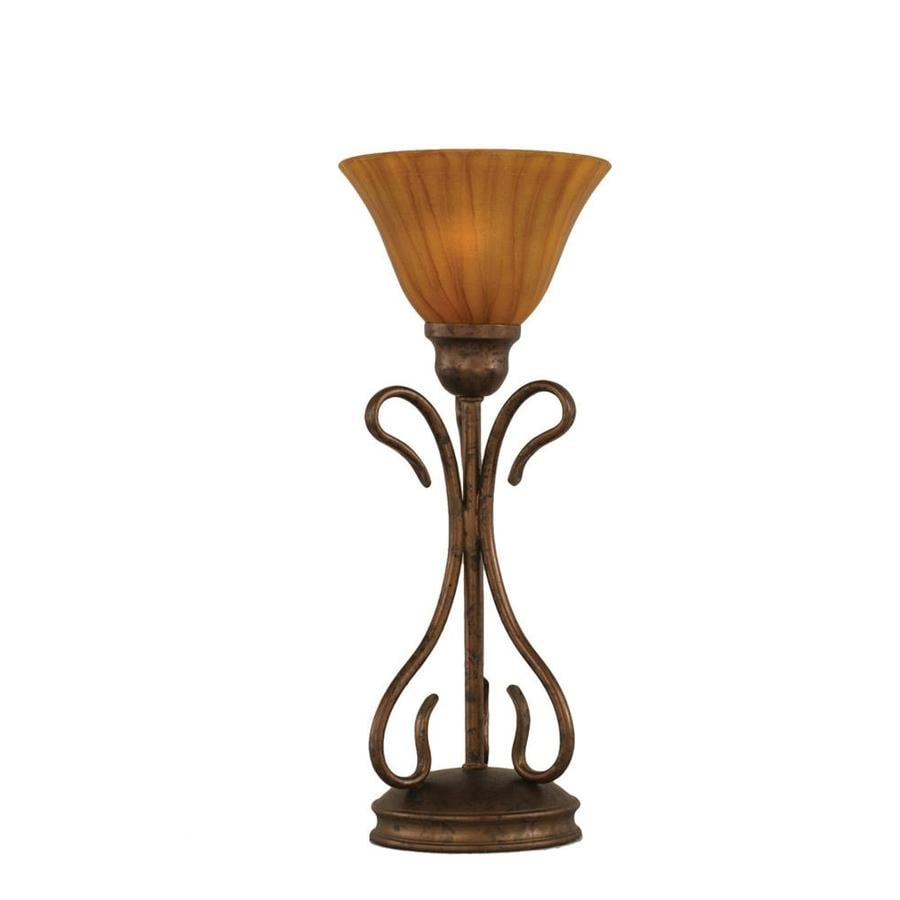 16.75-in Bronze Electrical Outlet 3-Way Switch Table Lamp with Glass Shade