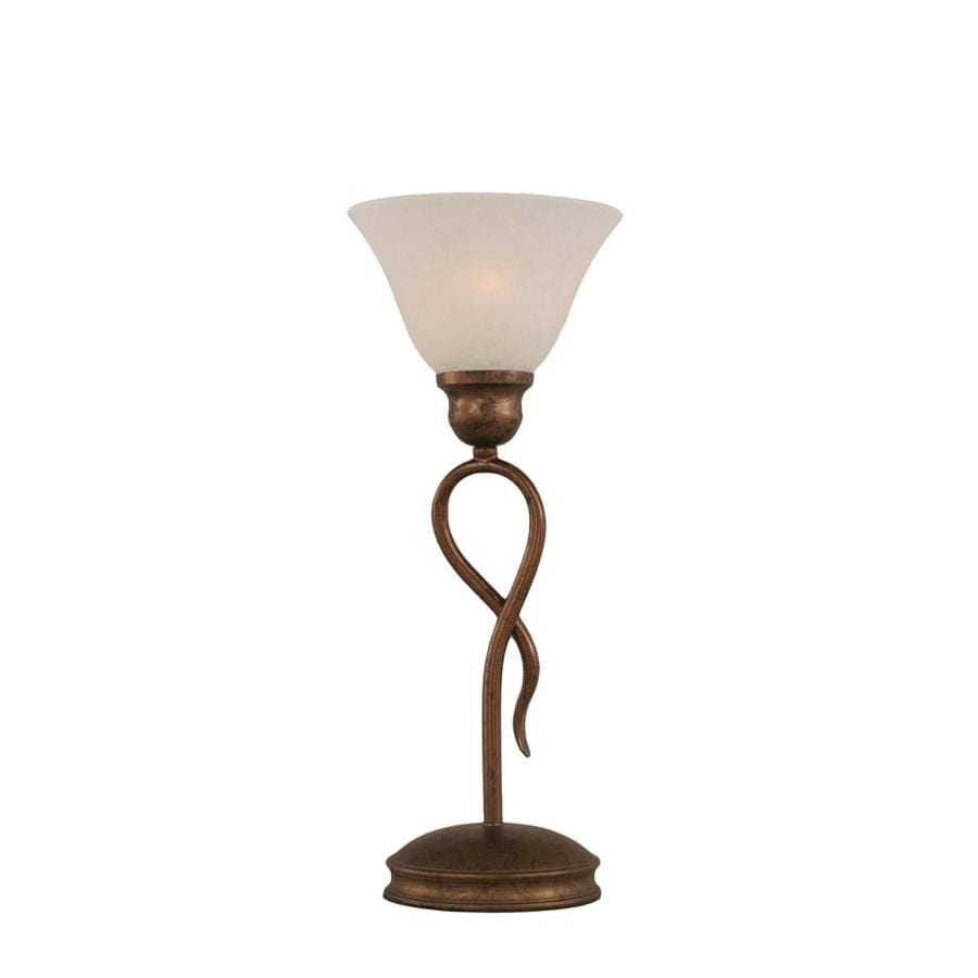 13.25-in Bronze Electrical Outlet 3-Way Switch Table Lamp with Glass Shade