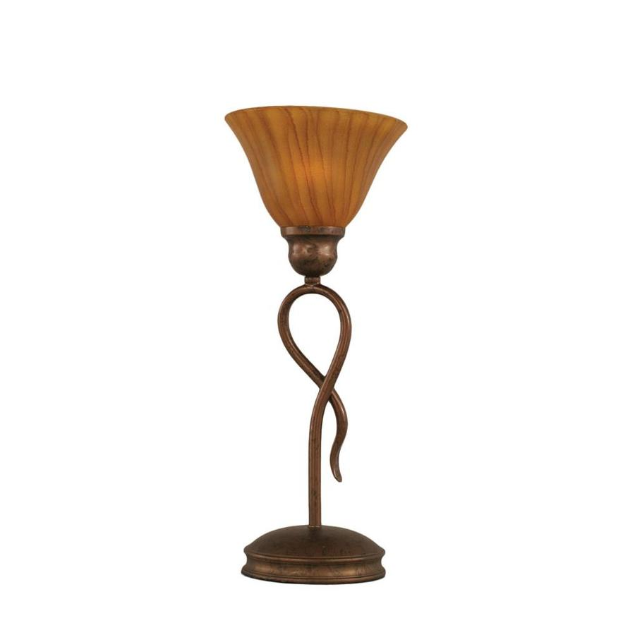 Divina 13.25-in 3-Way Bronze Indoor Table Lamp with Glass Shade