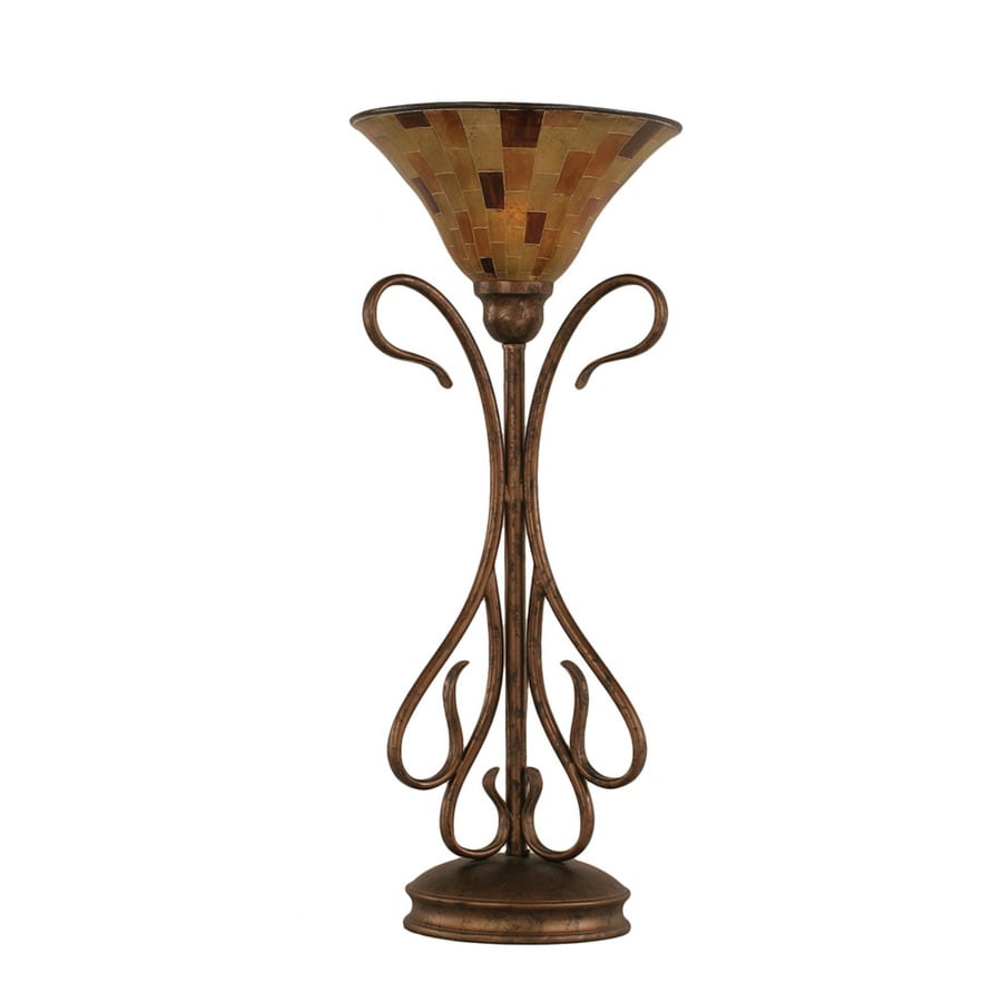 23.25-in Bronze Touch Indoor Table Lamp with Glass Shade