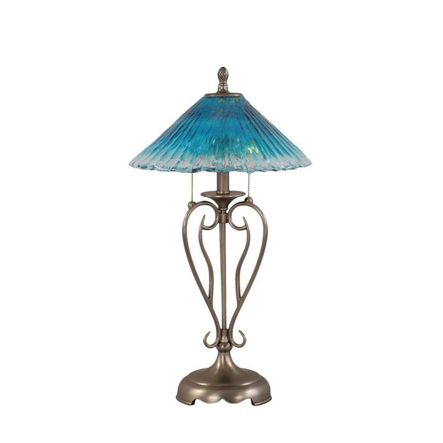 Divina 2 Light 27 in. Brushed Nickel Incandescent Table Lamp with Teal Crystal Glass