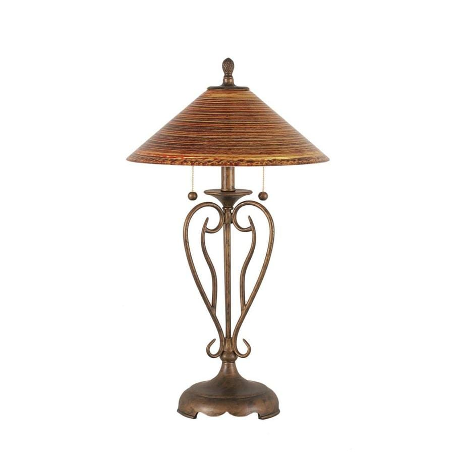 27-in Bronze Electrical Outlet 3-Way Switch Table Lamp with Glass Shade