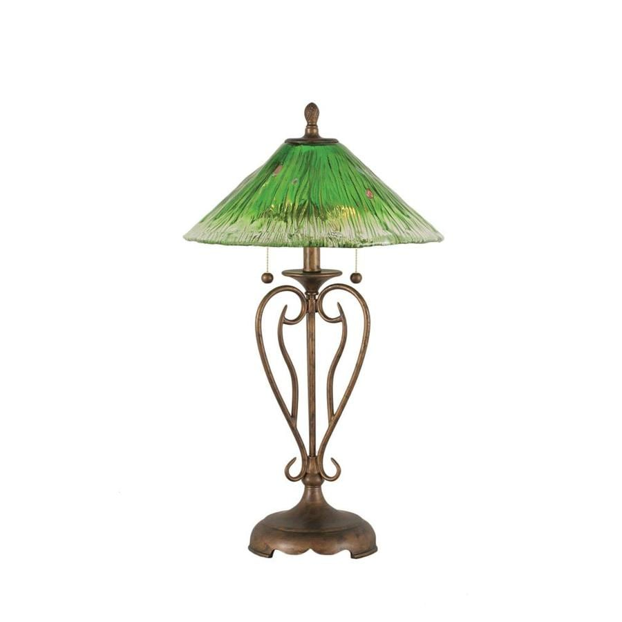 27-in Bronze Electrical Outlet 3-Way Switch Table Lamp with Crystal Shade