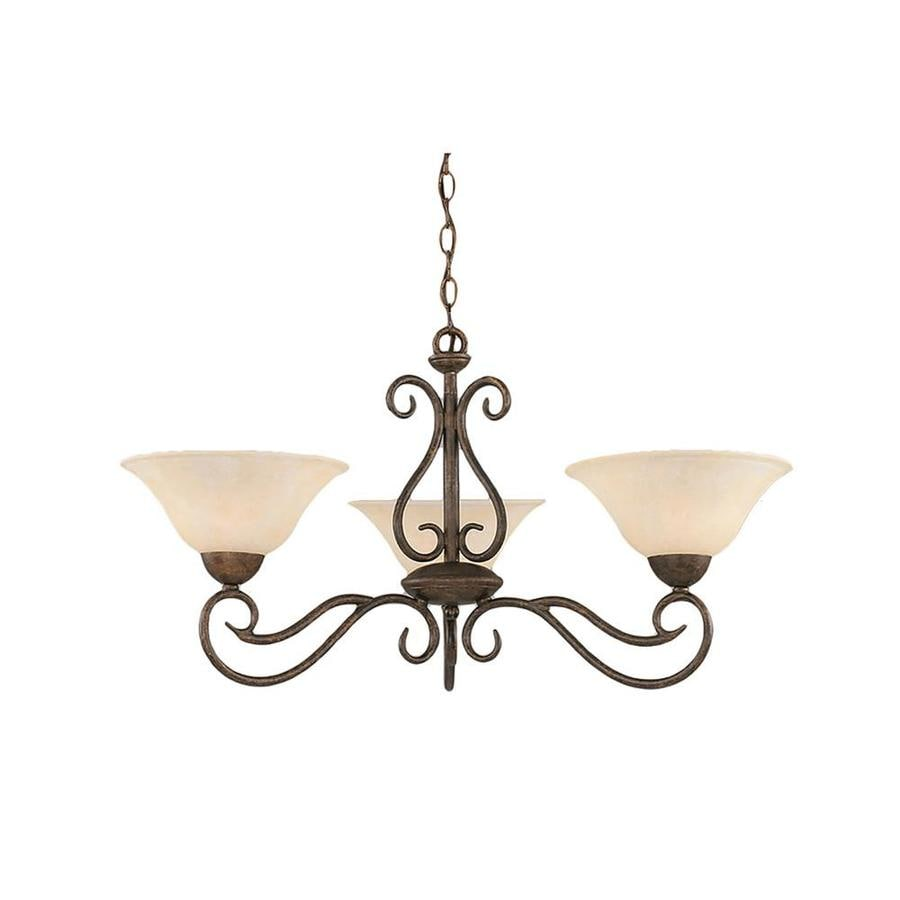 Divina 16-in 3-Light Bronze Tinted Glass Candle Chandelier