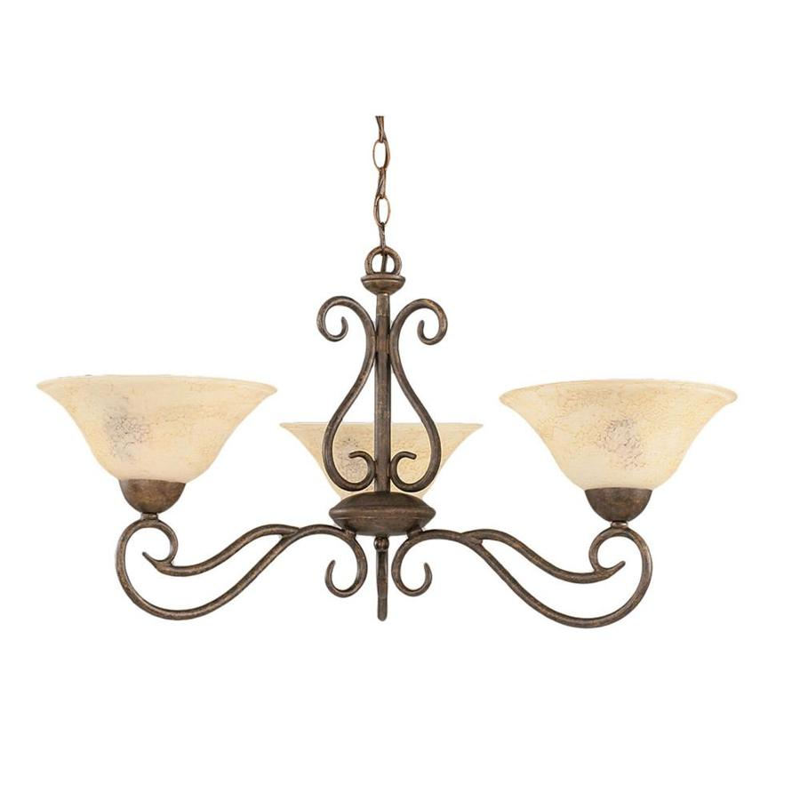 Divina 30.5-in 3-Light Bronze Marbleized Glass Candle Chandelier