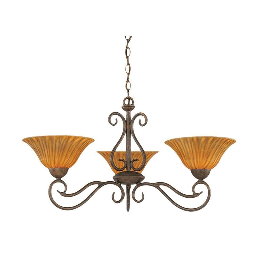 Divina 30.5-in 3-Light Bronze Tinted Glass Candle Chandelier