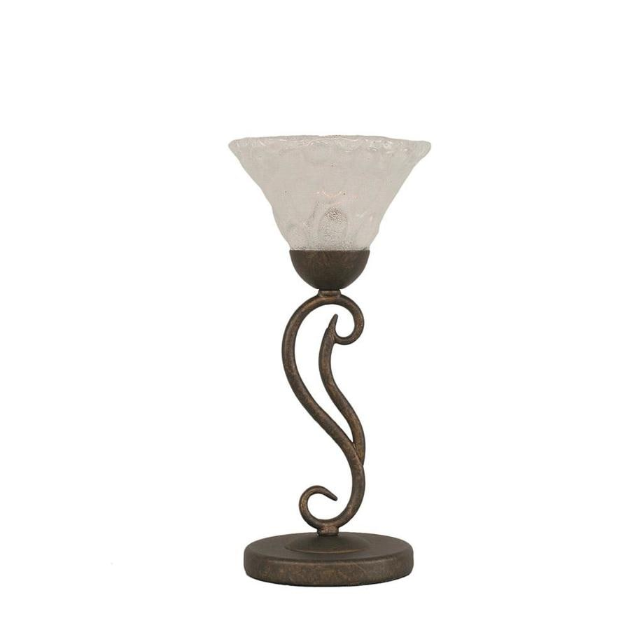 15.25-in Bronze Electrical Outlet 3-Way Switch Table Lamp with Glass Shade