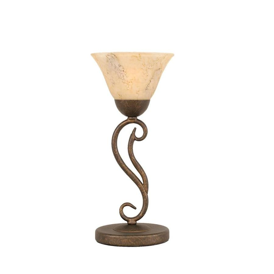 15.25-in Bronze Touch Indoor Table Lamp with Glass Shade