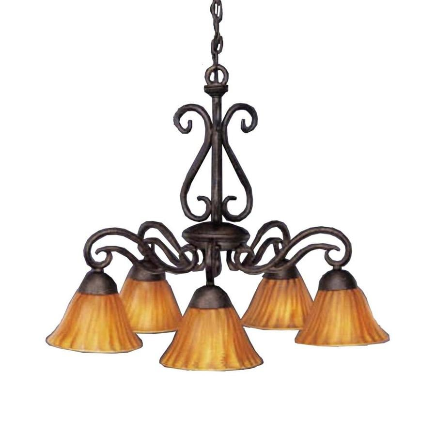 Divina 24.5-in 5-Light Bronze Tinted Glass Candle Chandelier
