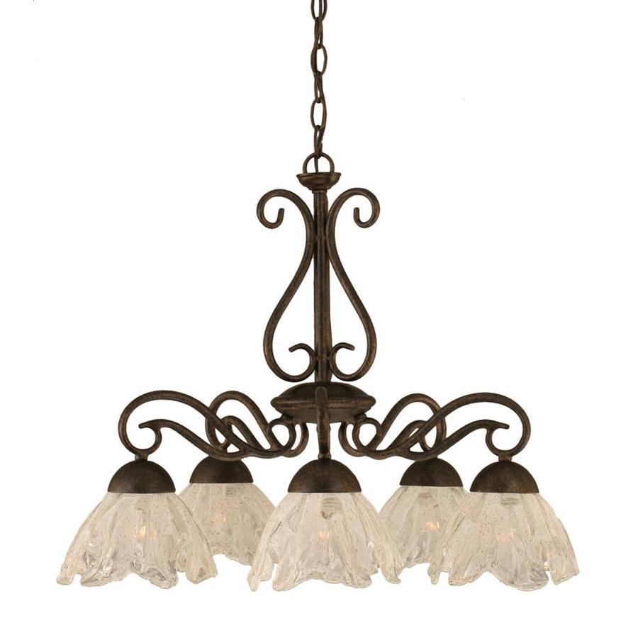 Divina 23-in 5-Light Bronze Tinted Glass Candle Chandelier